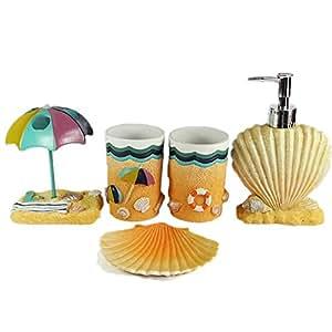 Pretty sea shell 5 piece bathroom accessories sets for Complete bathroom accessories sets