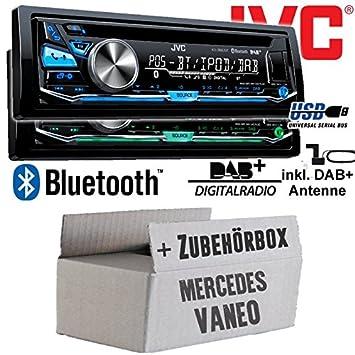 Mercedes Vaneo W414 - JVC KD-DB97BT - DAB+ Digitalradio   Bluetooth   USB   Autoradio inkl. DAB+ Antenne - Einbauset