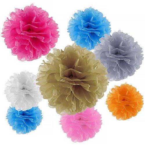 Kuuqa Pom Poms 20pcs 4 Sizes 7 Colors Tissue Paper Flowers Tissue Paper Pom Poms Craft, Wedding Decor Party Supplies (Crepe Pom Pom compare prices)