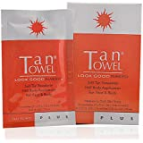 TANTOWEL Plus Self-Tan Towelette Half Body Application for Medium to Dark Skin Tones (10 Towelettes)