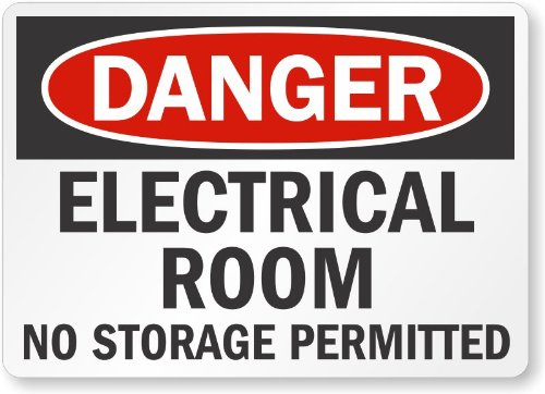 "Smartsign Adhesive Vinyl Osha Safety Sign, Legend ""Danger: Electrical Room, No Storage Permitted"", 5"" High X 7"" Wide, Black/Red On White"