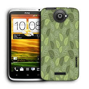Snoogg Green Leaves Printed Protective Phone Back Case Cover For HTC One X