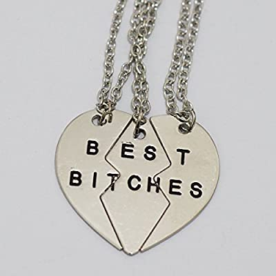 Set of 3 Pieces Best Bitches Necklace in Silver ,Charm Best Bitches Necklace Jewelry