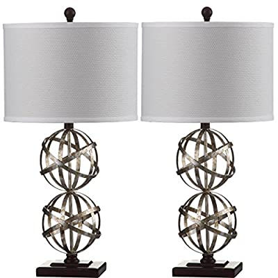 Safavieh Lighting Collection Haley Double Spher Antique Silver 28-inch Table Lamp (Set of 2)