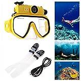 Waterproof Camera Scuba 720P Digital Diving Camera Mask-30M Underwater Swim Camera (Yellow)