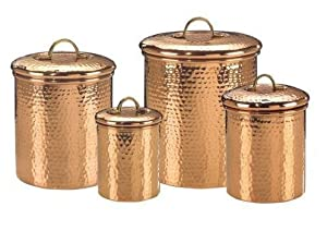 Exclusive By Old Dutch Set 4 Decor Copper Hammered Canisters 4Qt/2Qt/1.5Qt/1Qt