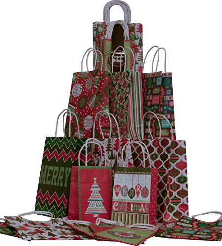 Christmas Gift bags, assorted sizes value pack, 2 packs of 15, set of 30 holiday bags