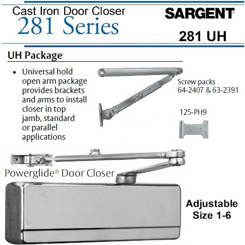 SARGENT 281-UH-TB-EN UNIVERSAL HOLDER ARM DOOR CLOSER: ALUMINUM
