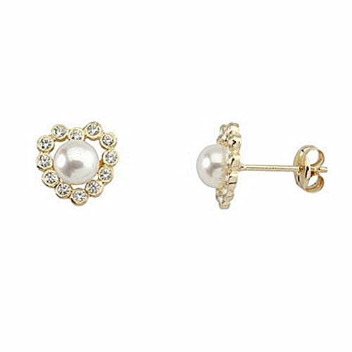 18k gold cultured pearl earrings heart chatons [6652P]