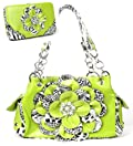 Leopard Lime Green Flower Rhinestone Handbag W Matching Wallet