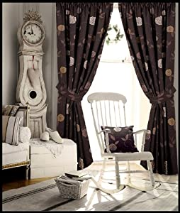 Bedroom ready made fully lined curtain chocolate brown beige cream