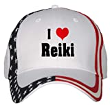 I Love/Heart Reiki USA Flag Hat / Baseball Cap