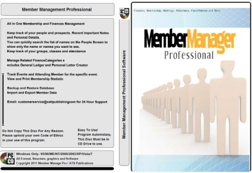 Membership Manage Professional; 100,000 Member Database Tracking and Management Software; Multiuser License Windows Only CD-ROM