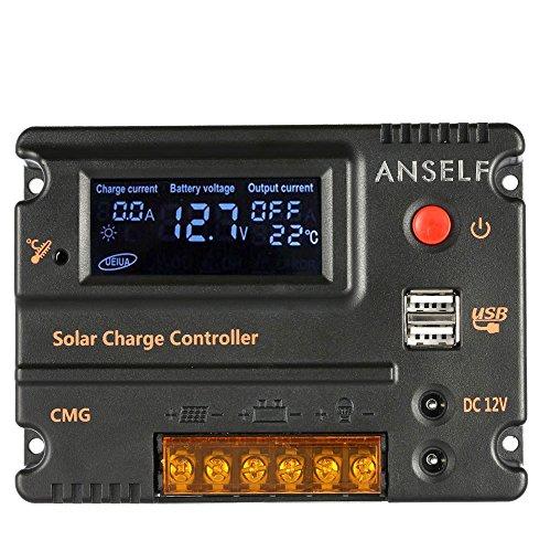 Anself Regolatore della carica 20A 12V 24V LCD pannello di batteria solare Regolatore dei sensori Protezione sovraccarico Compensazione della temperatura