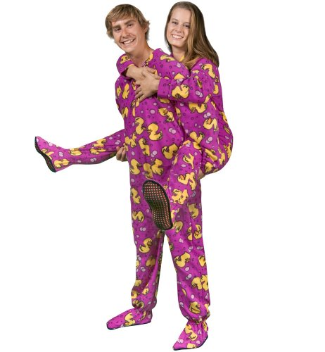 PajamaCity Purple Rubber Ducky Print Polar Fleece Footie Pajamas with Drop Seat for Teens and Adults Size 6 (5'8