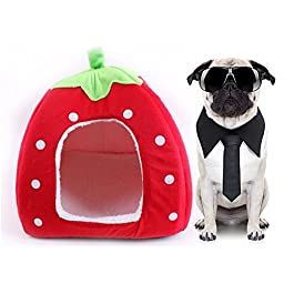 Cute Soft Strawberry Pet Puppy Dog Cat Rabbit Bed Lgloo House Nest Kennel Doggy Warm Cushion Basket Pad Sleeping Bag (L, Red)