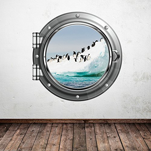 FULL COLOUR PENGUIN ARCTIC PORTHOLE WALL STICKER BATHROOM DECAL MURAL EN SUITE
