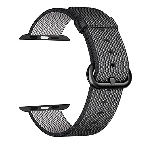 Apple Watch cinturino ,PUGO TOP Woven Nylon Replacement Wrist cinturino Bracelet Strap for Apple Watch Serise 1/Apple Watch Serise 2 (42mm , Nero)