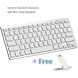 Kamor® Ultra-Slim Wireless Bluetooth 3.0 Keyboard For All iOS, iPad, Android, Mac, & Windows Tablets or Computers and Laptops (with Portable Stand for Free) - Silver