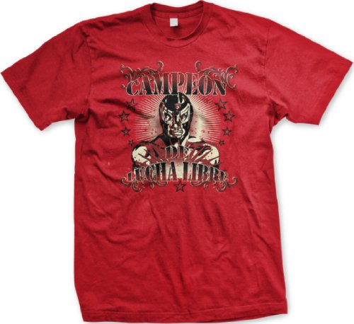 Campeon De Lucha Libre Mens Tattoo Style T-Shirt, Old School Mexican Wrestling Design Mens Shirt, Xxx-Large, Red