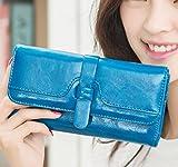 adelphos やわらかPUレザー 長財布 カード入れ 小銭入れ 付き 全8色 (ブルー)
