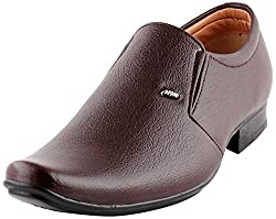 Smart Wood Mens Brown Artificial Leather Formal Shoes - 9 UK