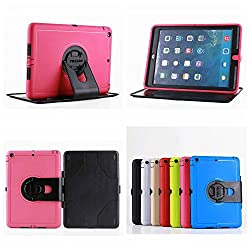 iPad Case, iPad 2 3 4 Case Lightweight Shockproof Drop Resistance Rugged Silicone + Plastic 2 Layer Hybrid Defender Super Protection Case and Built-in Kickstand for Apple iPad 2 iPad 3 iPad 4 (Pink)