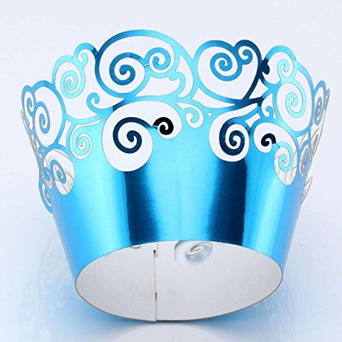 50pcs Papel Envoltura de Magdalena Cupcake Taza Envase Torta Decoración para Boda (azul)
