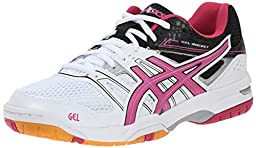 ASICS Women\'s Gel Rocket 7 Volleyball Shoe, White/Magenta/Black, 7.5 M US