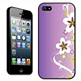 Fancy A Snuggle White Flower Pattern with Swirls On Purple Clip On Back Cover Hard Case for Apple iPhone 5