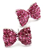 Adorable Bow Princess Stud Earrings with Sparkling Dark Pink Austrian Crystals