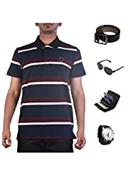 Garushi Multicolor T-Shirt With Watch Belt Sunglasses Cardholder - B00YML2CN6