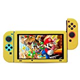 BUBM Soft Silicone Case Anti-slip Protective Cover Seperate bodies Case for Nintendo Switch (Yellow) (Color: Yellow)