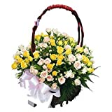 FloraIndia Fresh Flower (Basket of 75 mix roses)