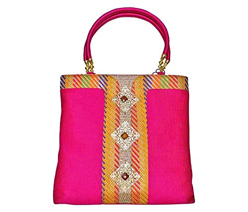 Bhamini Raw Silk Handbag With Wooden Stone Gold Brooch (Pink)