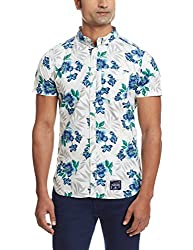 Superdry Men's Cotton Casual Shirt (5054265255618_M40MO000_Large_Large Hibiscus Optic)
