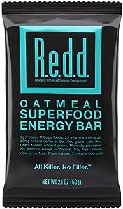 Redd Oatmeal Superfood Energy Bar, 2.1 Ounce (Box of 12), Gluten Free, Protein Bar + Energy Shot + Multi Vitamin