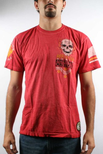 Affliction - Mens Eddie Trotta Signature T-Shirt In Red, Size: Medium, Color: Red