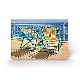 Deckchairs - Summer Breeze, Jonathan Sanders Cuadro De Madera (60 x 40cm)