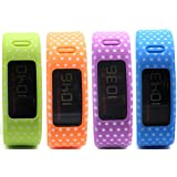 HONECUMI Multi-Color Replacement Wrist Bands With Clasps For Garmin Vivofit Rep... Dots Pack Of 4(Blue Orange