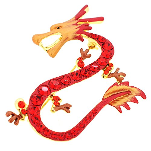 Red Dragon Swarovski Crystal Pin Brooch