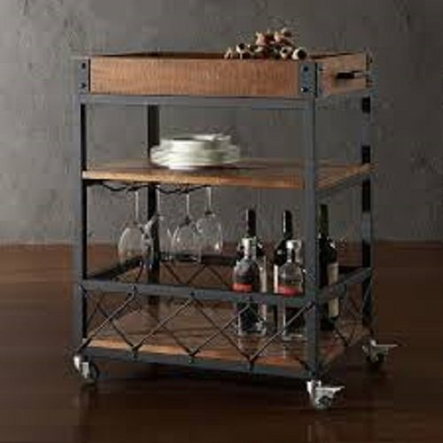 TRIBECCA HOME Myra Rustic Mobile Kitchen Bar Serving Cart (Bar Cart Wood compare prices)