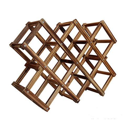 Nature Wood Foldable 10-Bottle Wine Rack Holder Free Standing (6 bottle) (Hutch Wine Rack compare prices)