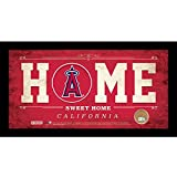 """MLB Los Angeles Angels Home Sweet Home Sign with Game-Used Dirt from Angel Stadium of Anaheim, 6 x 12"""", Red"""
