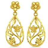 14K Yellow Gold Flower Drop Earrings