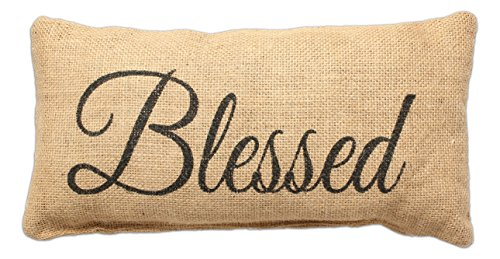 Blessed – Small Jute Burlap Accent Throw Pillow 12-in x 8-in