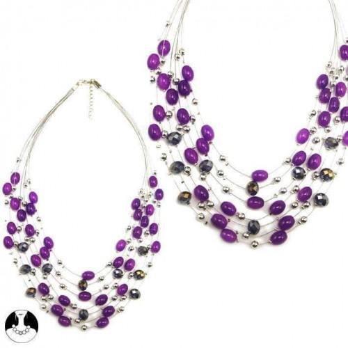 sg paris women necklace necklace 7 rows 57/45cm+ext rhodium purple ab glass