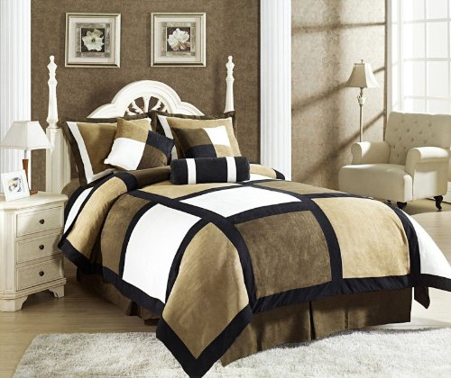 7 Piece Black Brown Beige Micro Suede Patchwork Duvet Cover Set King Size, Machine Washable front-1020642