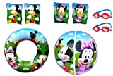 Mickey Mouse Clubhouse Armbands, Swimming Goggles, Swim Ring & Beach Ball (2 sets of Armbands: 1 x Mickey & 1 x Minnie, 2 pairs Swimming Goggles plus 1 Swim Ring & Beach Ball)