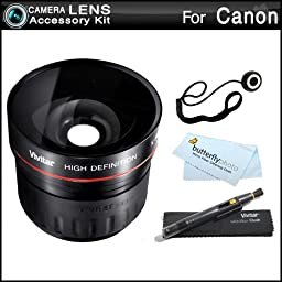 Fisheye Lens Kit For CANON VIXIA HF M52, HF M50, HF M500, HF M41, HF M40, HF M400 HD Camcorder Includes High Definition 0.21x Super Wide Angle Fisheye Lens + LensPen Cleaning Kit + Lens Cap Keeper + Microfiber Cleaning Cloth